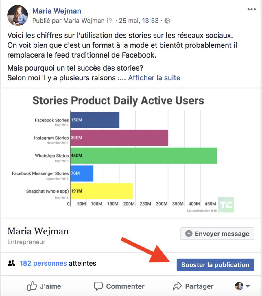 bouton booster les publications Facebook
