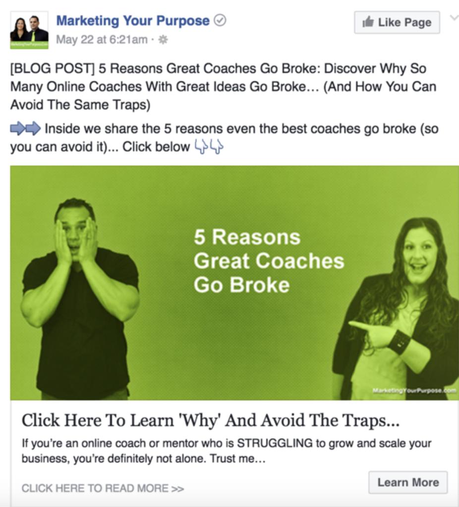 Publicité Facebook de Marketing your purpose