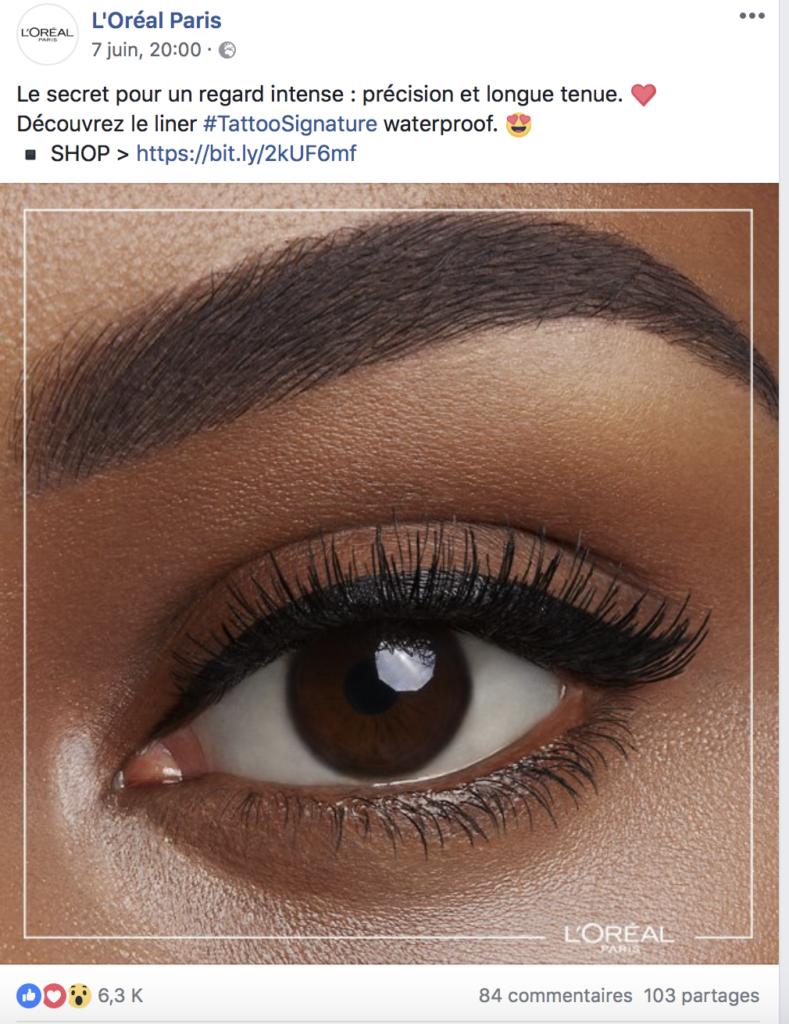 exemple de la publicité Facebook L'orelal
