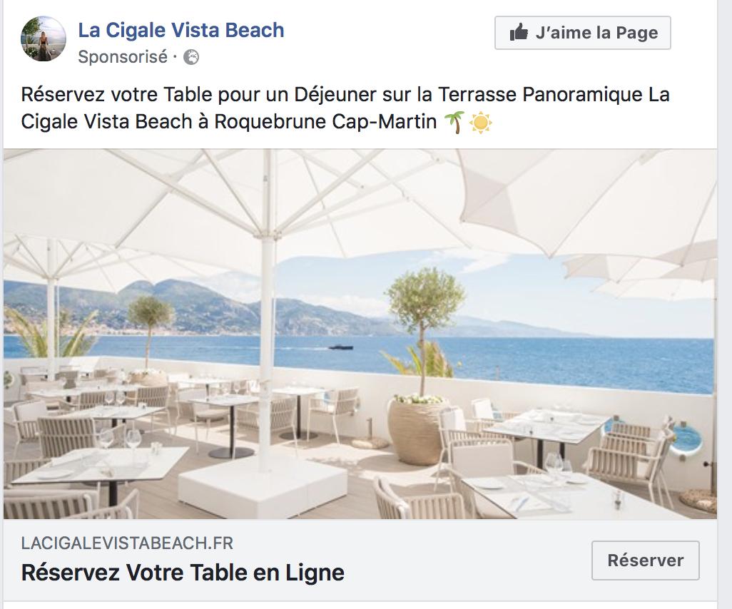 publicité Facebook d'un restaurant