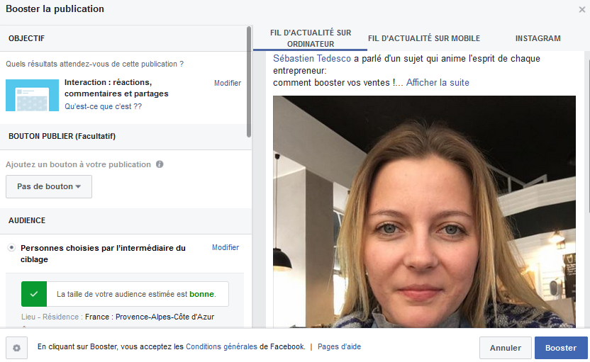 booster les publications Facebook