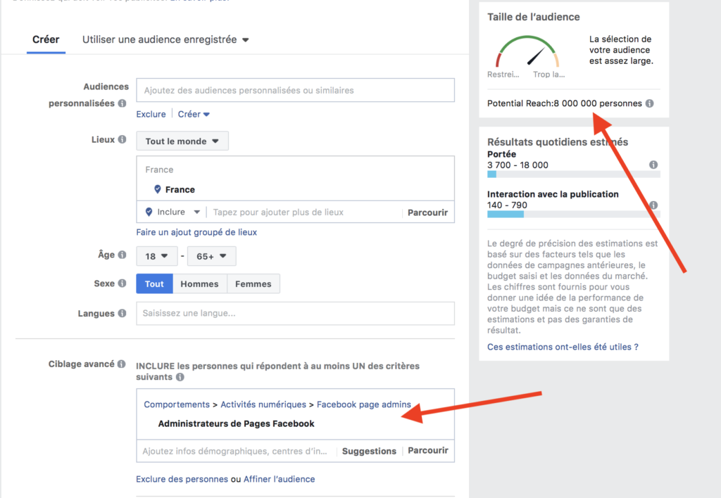 campagne Facebook : administrateurs de pages facebook