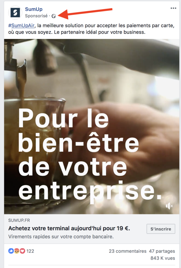campagne facebook: post sponsorisé