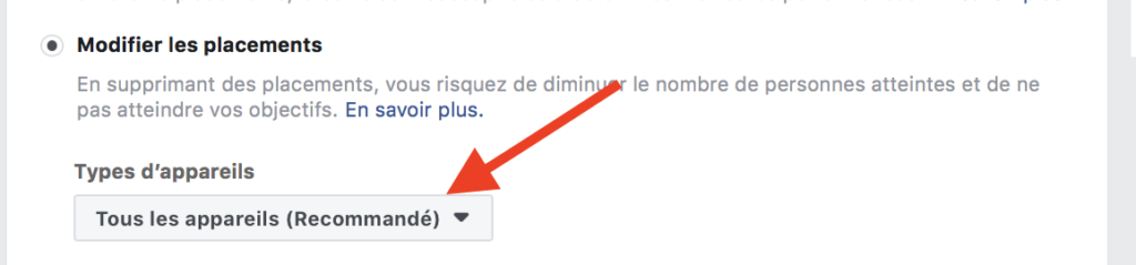 recommandation placements pub facebook