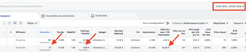 Campagne 1 Facebook budget optimisation