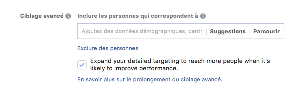 extension du ciblage Facebook Ads