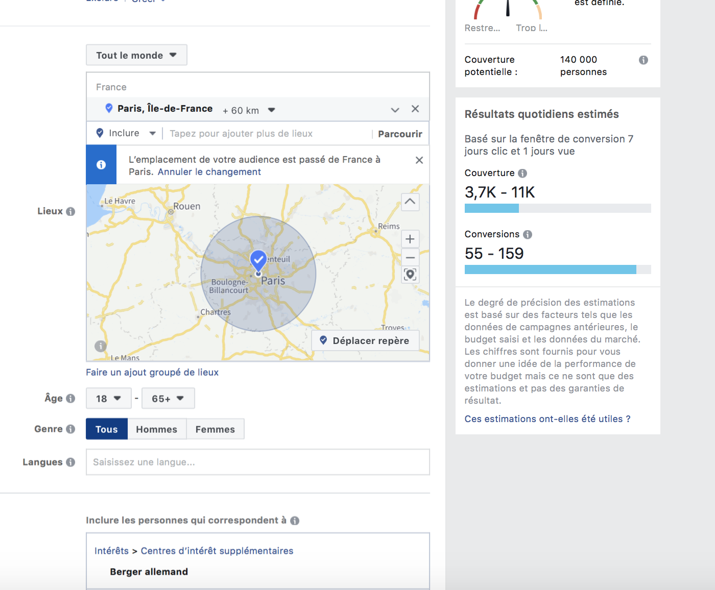 Exemple ciblage Facebook en 2019
